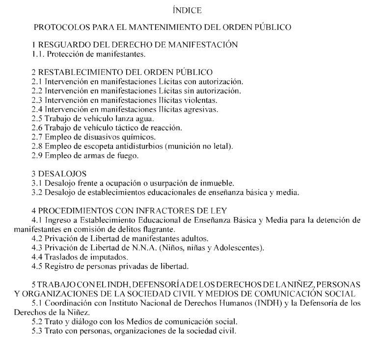 Indice protocolos carab orden público